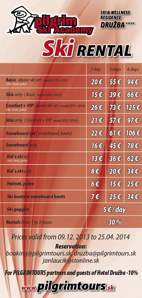 4efcf08f9ac5 Cenník požičovne výstrojePilgrim SKI ACADEMY